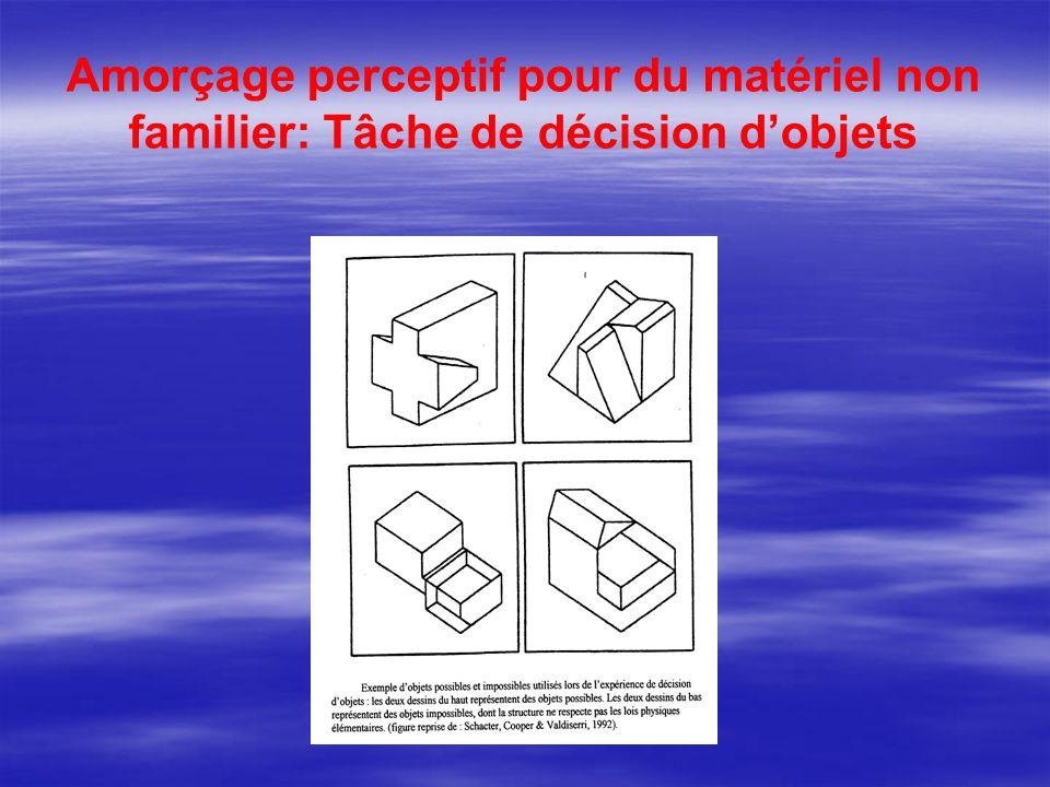 Amorçage perceptif pour du matériel non familier: Tâche de décision dobjets
