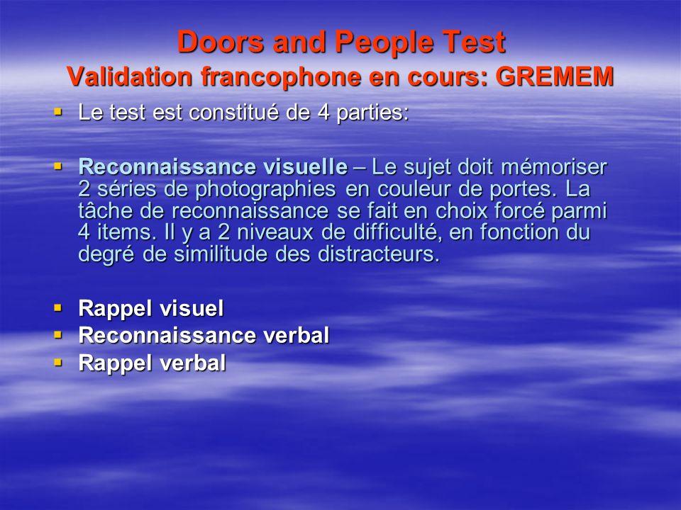 Doors and People Test Validation francophone en cours: GREMEM Le test est constitué de 4 parties: Le test est constitué de 4 parties: Reconnaissance v