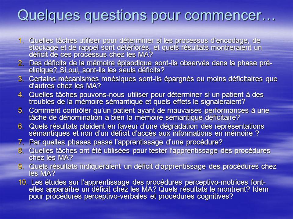 Quelques questions pour commencer… 1.Quelles tâches utiliser pour déterminer si les processus dencodage, de stockage et de rappel sont détériorés, et