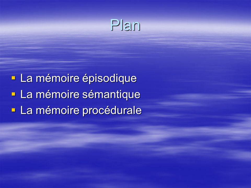 Plan La mémoire épisodique La mémoire épisodique La mémoire sémantique La mémoire sémantique La mémoire procédurale La mémoire procédurale