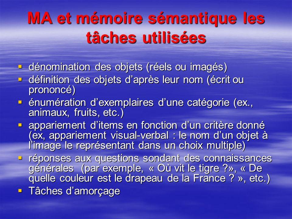 MA et mémoire sémantique les tâches utilisées dénomination des objets (réels ou imagés) dénomination des objets (réels ou imagés) définition des objet
