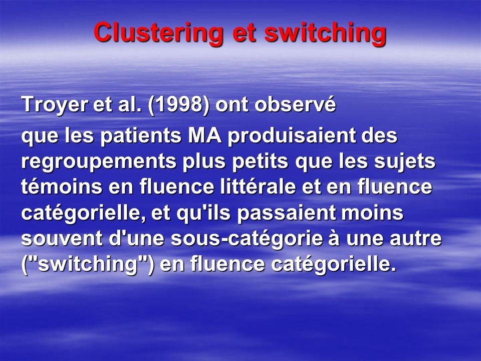 Clustering et switching Troyer et al. (1998) ont observé que les patients MA produisaient des regroupements plus petits que les sujets témoins en flue