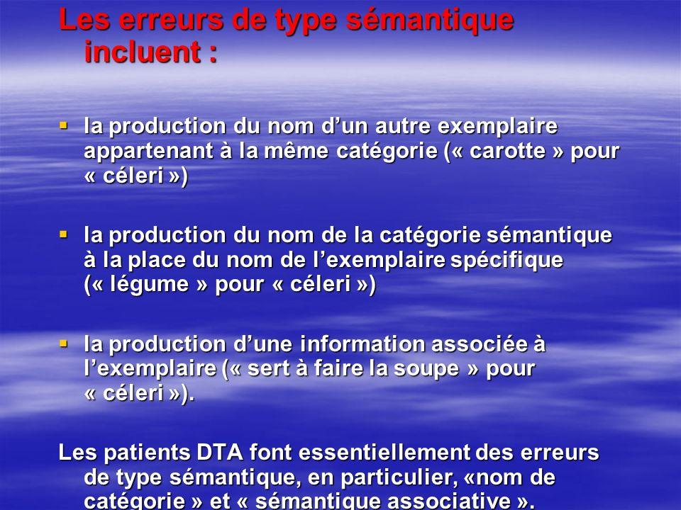 Les erreurs de type sémantique incluent : la production du nom dun autre exemplaire appartenant à la même catégorie (« carotte » pour « céleri ») la p