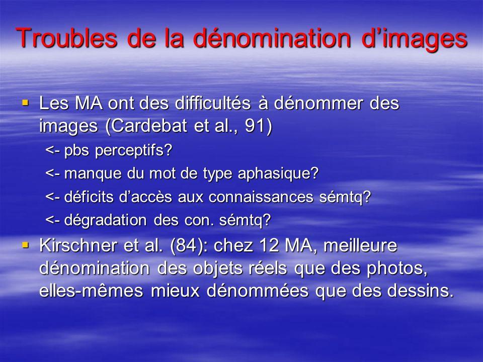 Troubles de la dénomination dimages Les MA ont des difficultés à dénommer des images (Cardebat et al., 91) Les MA ont des difficultés à dénommer des i