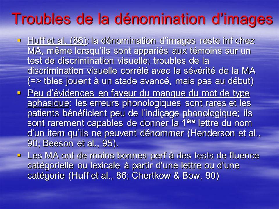 Troubles de la dénomination dimages Huff et al. (86): la dénomination dimages reste inf chez MA, même lorsquils sont appariés aux témoins sur un test