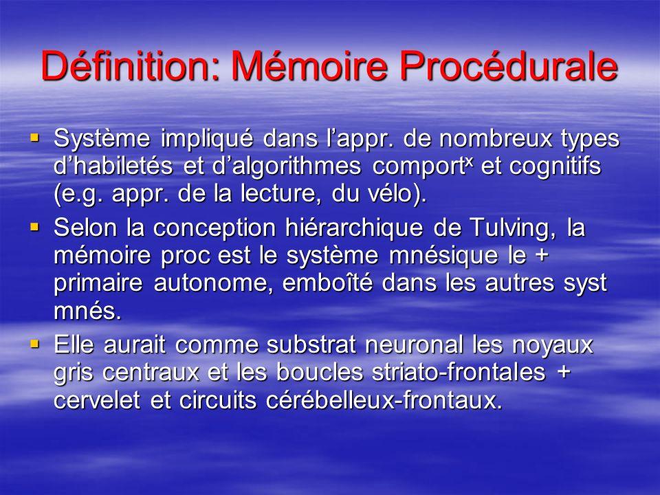 Définition: Mémoire Procédurale Système impliqué dans lappr. de nombreux types dhabiletés et dalgorithmes comport x et cognitifs (e.g. appr. de la lec