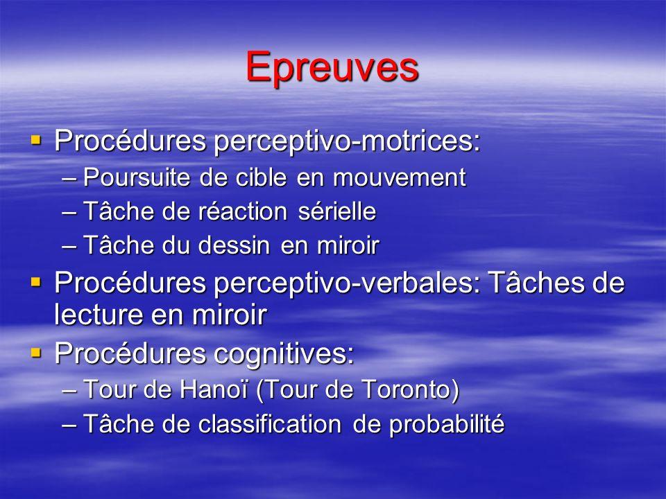 Epreuves Procédures perceptivo-motrices: Procédures perceptivo-motrices: –Poursuite de cible en mouvement –Tâche de réaction sérielle –Tâche du dessin