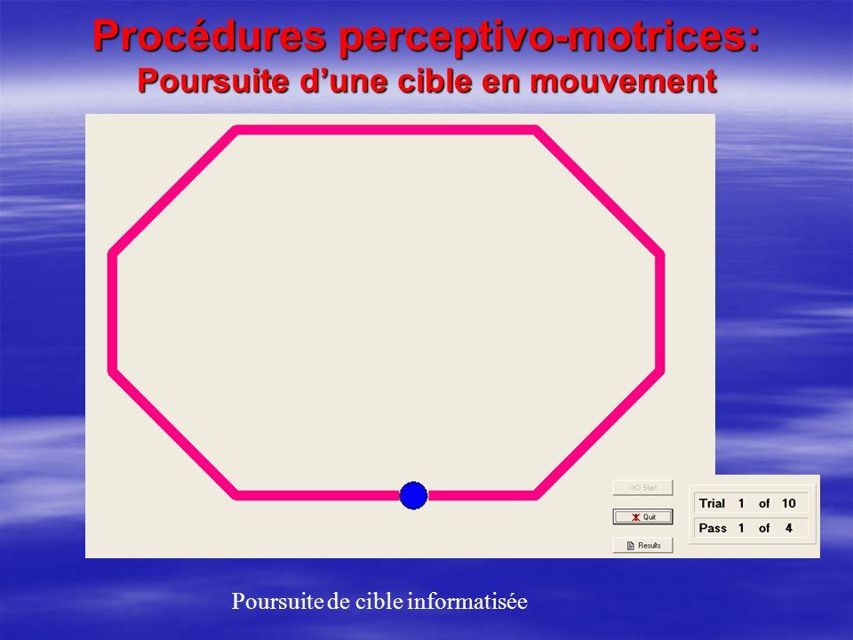 Procédures perceptivo-motrices: Poursuite dune cible en mouvement Poursuite de cible informatisée