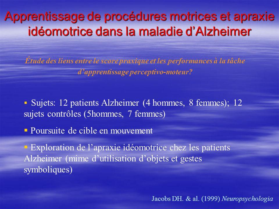 Apprentissage de procédures motrices et apraxie idéomotrice dans la maladie dAlzheimer Jacobs DH. & al. (1999) Neuropsychologia Sujets: 12 patients Al