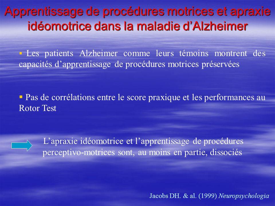 Apprentissage de procédures motrices et apraxie idéomotrice dans la maladie dAlzheimer Jacobs DH. & al. (1999) Neuropsychologia Les patients Alzheimer