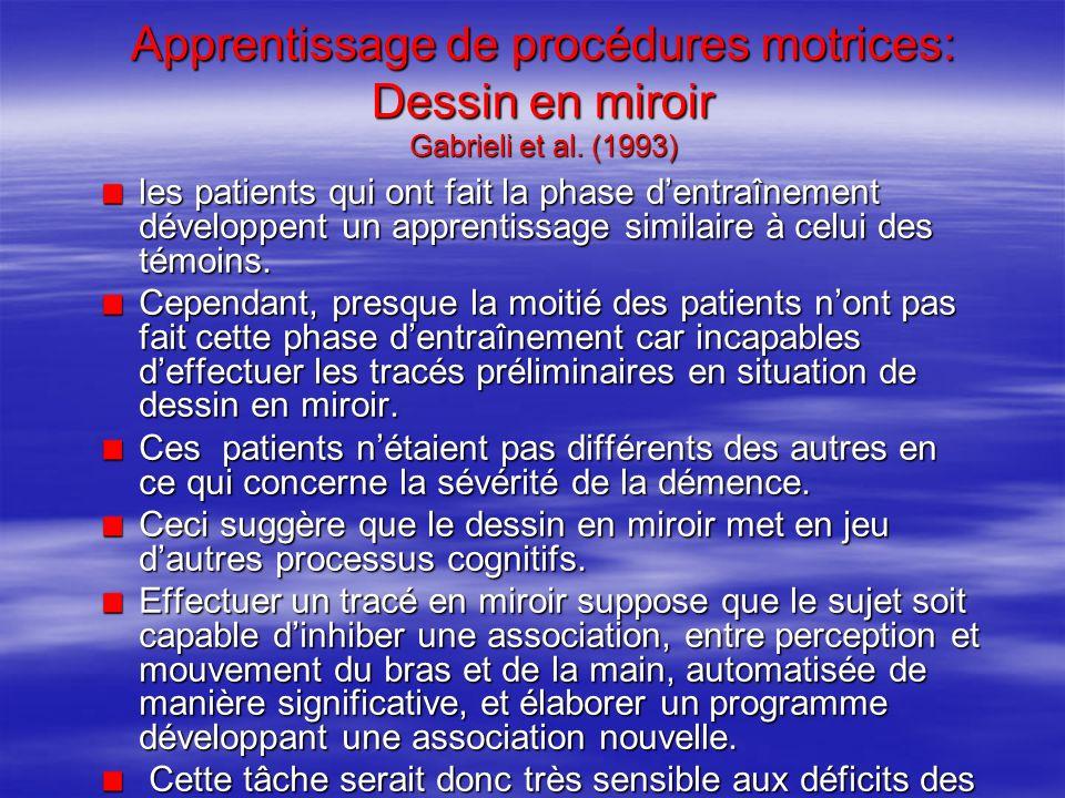Apprentissage de procédures motrices: Dessin en miroir Gabrieli et al. (1993) les patients qui ont fait la phase dentraînement développent un apprenti