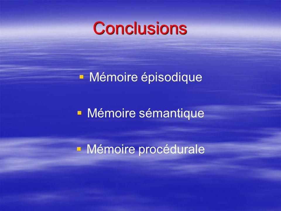 Conclusions Mémoire épisodique Mémoire sémantique Mémoire procédurale