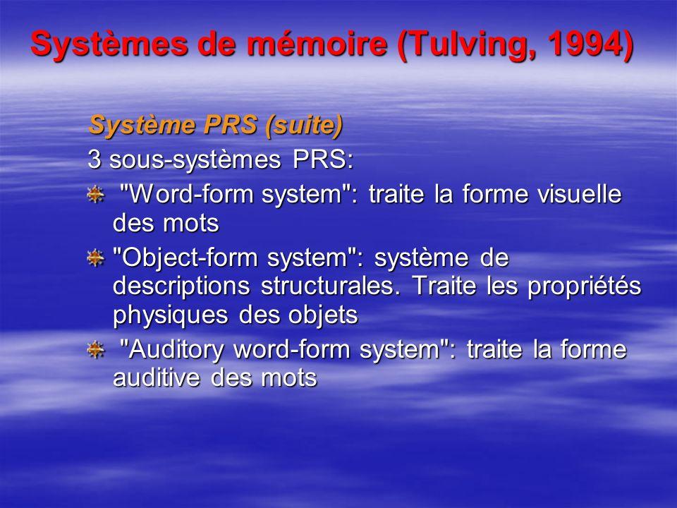 Systèmes de mémoire (Tulving, 1994) Système PRS (suite) 3 sous-systèmes PRS: