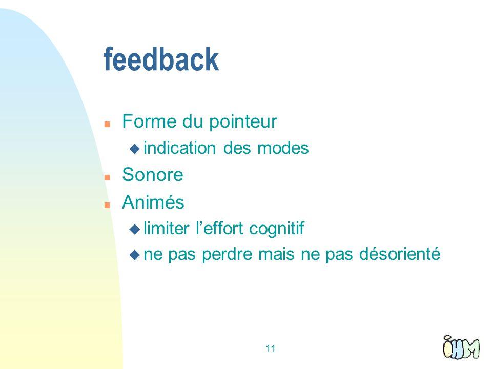 11 feedback n Forme du pointeur u indication des modes n Sonore n Animés u limiter leffort cognitif u ne pas perdre mais ne pas désorienté