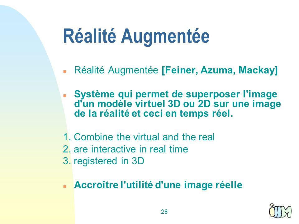 28 Réalité Augmentée n Réalité Augmentée [Feiner, Azuma, Mackay] n Système qui permet de superposer l image d un modèle virtuel 3D ou 2D sur une image de la réalité et ceci en temps réel.