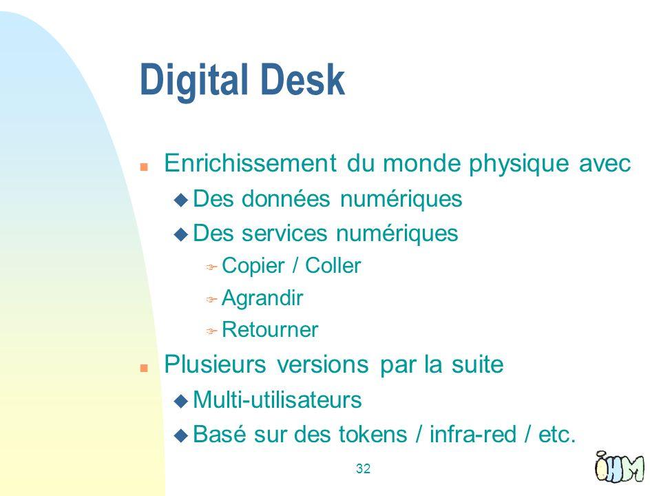 32 Digital Desk n Enrichissement du monde physique avec u Des données numériques u Des services numériques F Copier / Coller F Agrandir F Retourner n Plusieurs versions par la suite u Multi-utilisateurs u Basé sur des tokens / infra-red / etc.