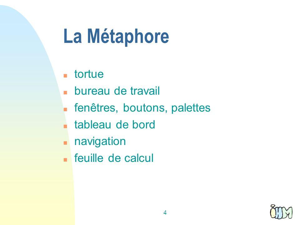4 La Métaphore n tortue n bureau de travail n fenêtres, boutons, palettes n tableau de bord n navigation n feuille de calcul
