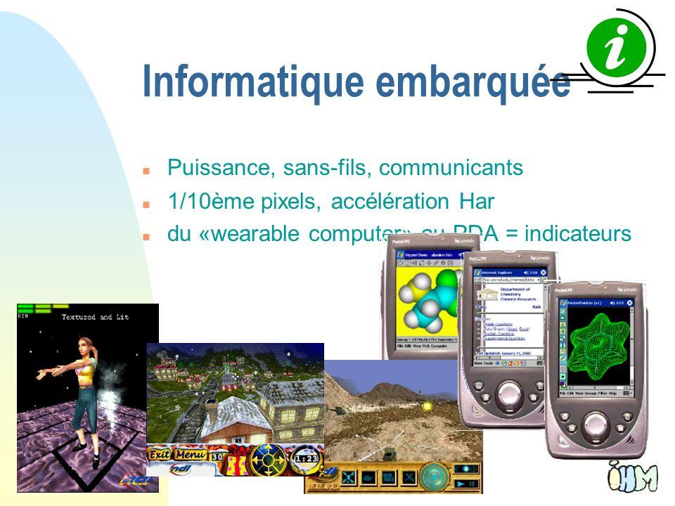 41 Informatique embarquée n Puissance, sans-fils, communicants n 1/10ème pixels, accélération Har n du «wearable computer» au PDA = indicateurs