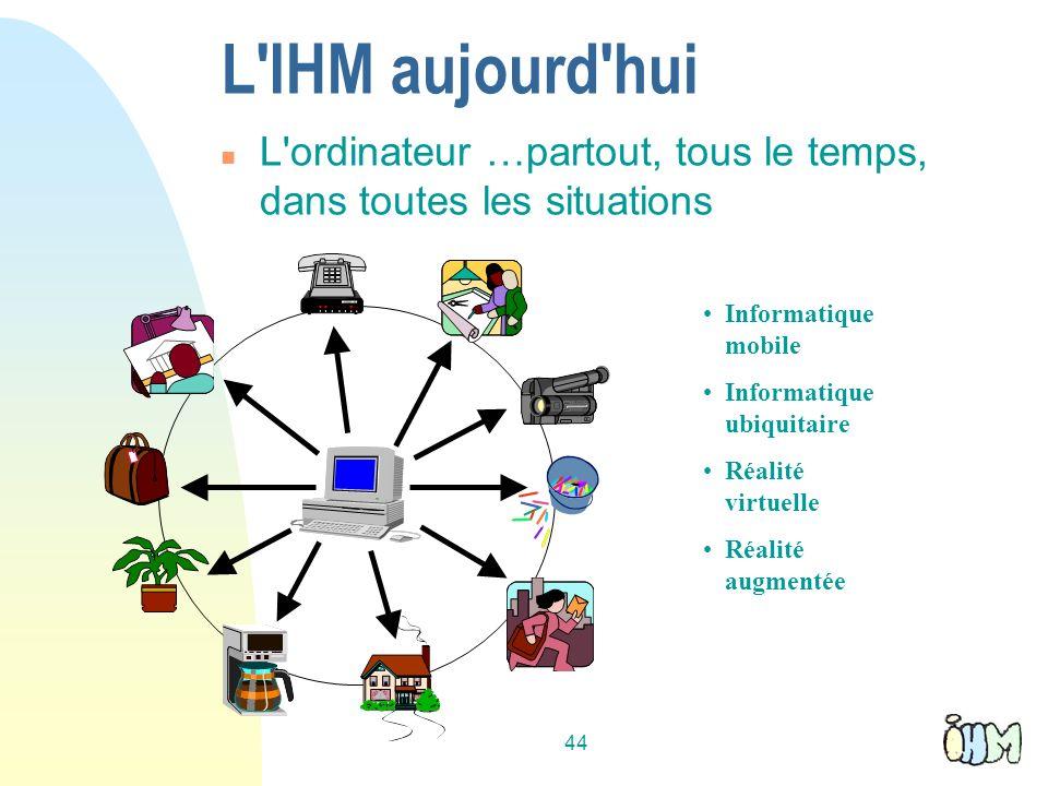 44 L IHM aujourd hui n L ordinateur …partout, tous le temps, dans toutes les situations Informatique mobile Informatique ubiquitaire Réalité virtuelle Réalité augmentée