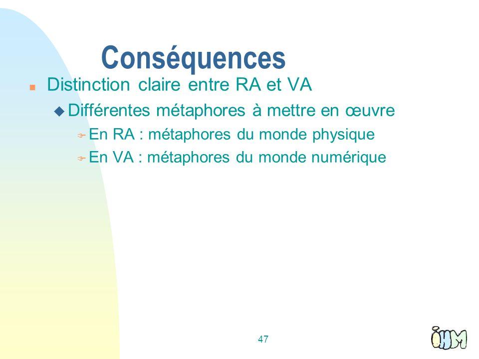 47 Conséquences n Distinction claire entre RA et VA u Différentes métaphores à mettre en œuvre F En RA : métaphores du monde physique F En VA : métaphores du monde numérique