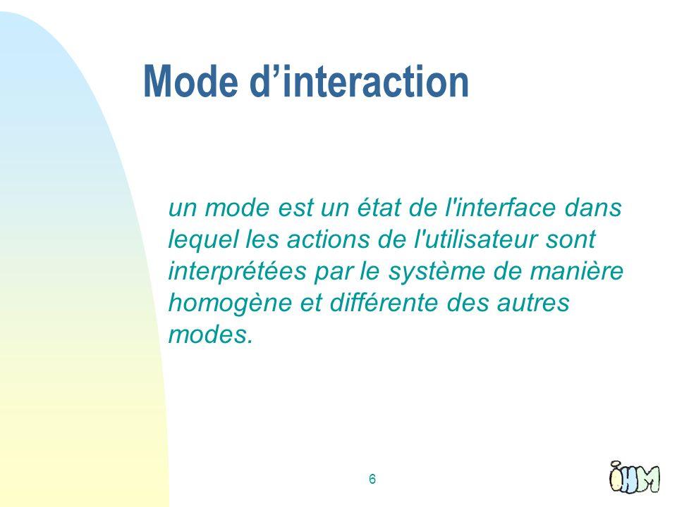 6 Mode dinteraction un mode est un état de l interface dans lequel les actions de l utilisateur sont interprétées par le système de manière homogène et différente des autres modes.