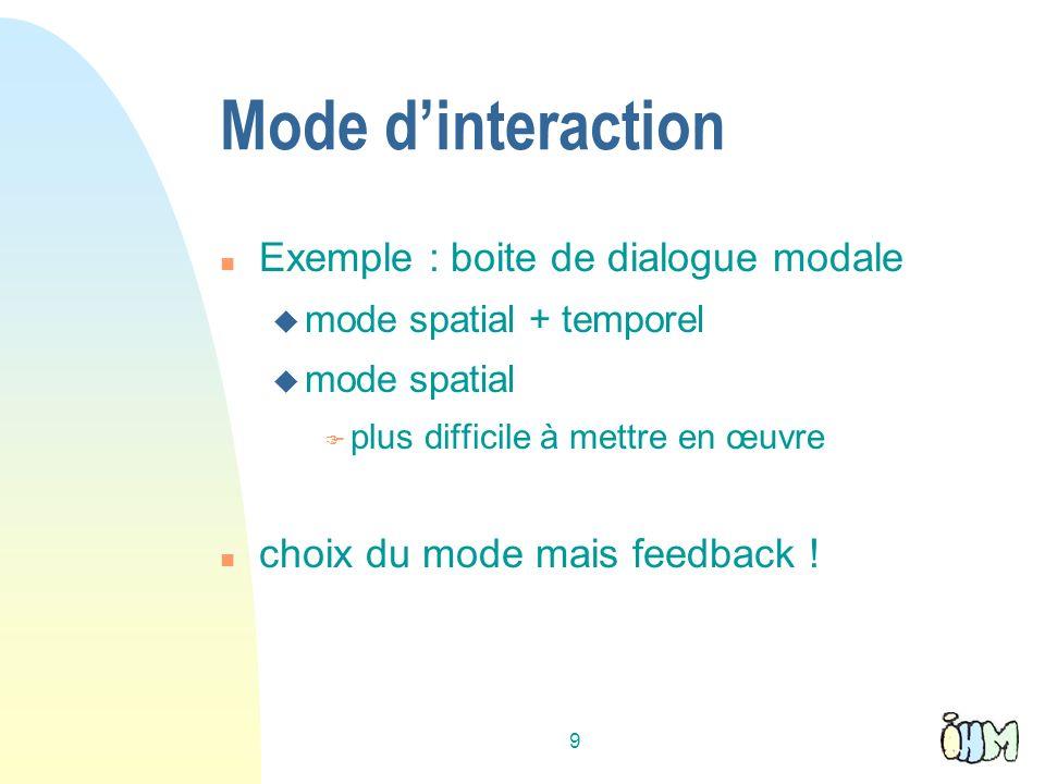 9 Mode dinteraction n Exemple : boite de dialogue modale u mode spatial + temporel u mode spatial F plus difficile à mettre en œuvre n choix du mode mais feedback !