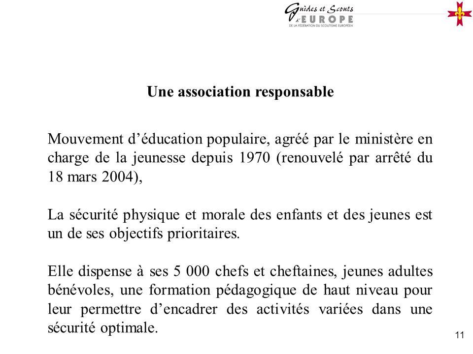 11 Une association responsable Mouvement déducation populaire, agréé par le ministère en charge de la jeunesse depuis 1970 (renouvelé par arrêté du 18