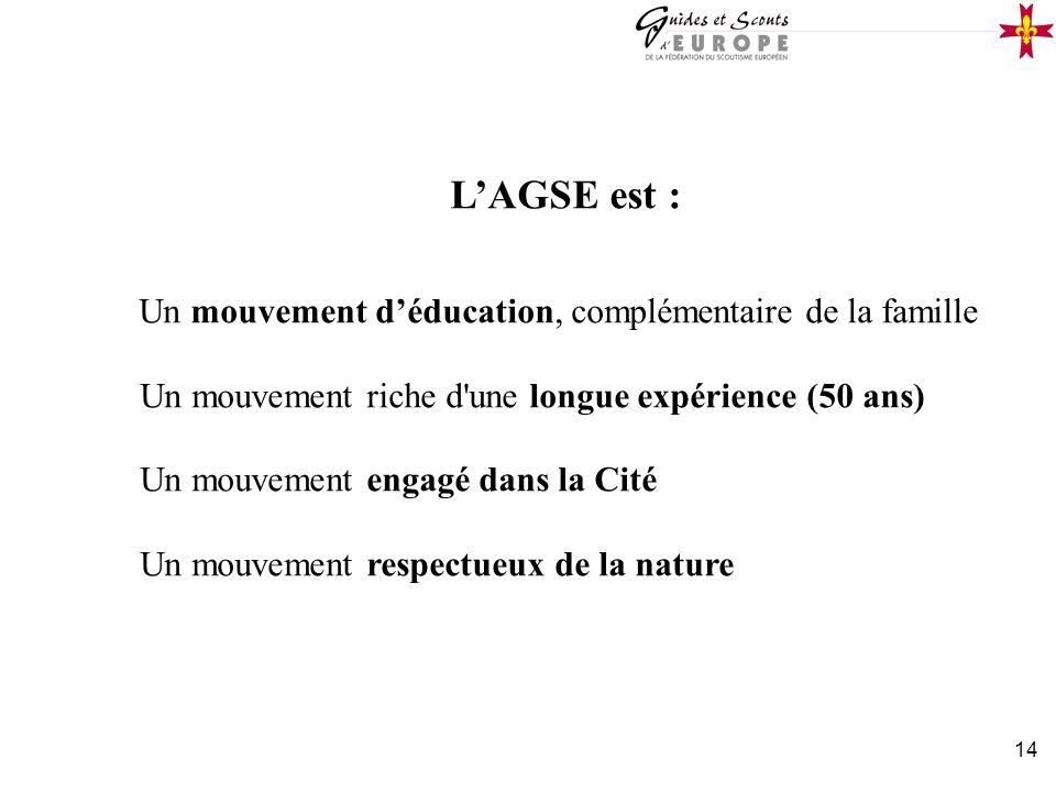 14 LAGSE est : Un mouvement déducation, complémentaire de la famille Un mouvement riche d'une longue expérience (50 ans) Un mouvement engagé dans la C