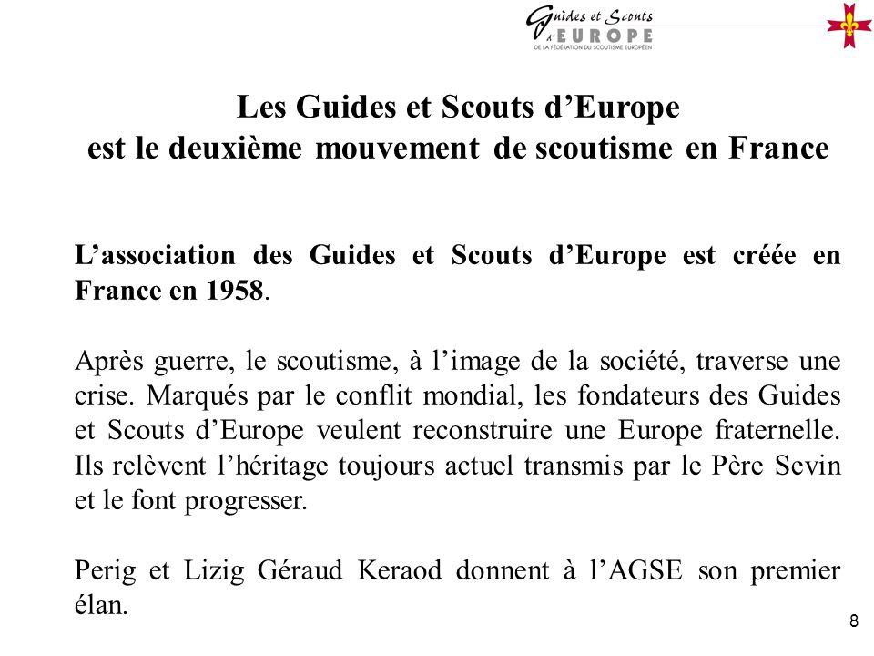 8 Les Guides et Scouts dEurope est le deuxième mouvement de scoutisme en France Lassociation des Guides et Scouts dEurope est créée en France en 1958.