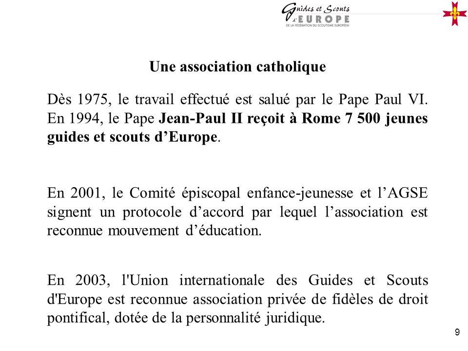 9 Une association catholique Dès 1975, le travail effectué est salué par le Pape Paul VI. En 1994, le Pape Jean-Paul II reçoit à Rome 7 500 jeunes gui