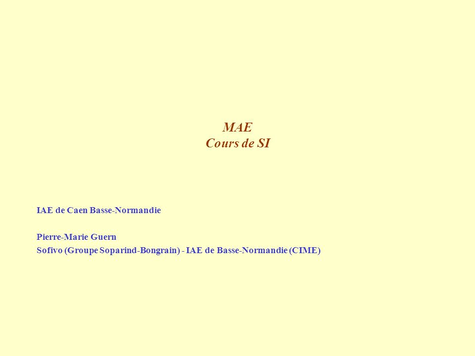 MAE Cours de SI IAE de Caen Basse-Normandie Pierre-Marie Guern Sofivo (Groupe Soparind-Bongrain) - IAE de Basse-Normandie (CIME)