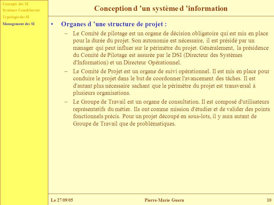 Concepts des SI Typologie des SI Management des SI Systèmes Com&Savoir Le 27/09/05Pierre-Marie Guern10 Conception d un système d information Organes d