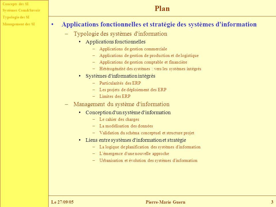 Concepts des SI Typologie des SI Management des SI Systèmes Com&Savoir Le 27/09/05Pierre-Marie Guern14 Liens entre stratégie et systèmes d information Le schéma directeur – Son but est de déterminer le portefeuille de projets de l organisation.