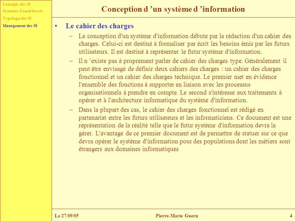 Concepts des SI Typologie des SI Management des SI Systèmes Com&Savoir Le 27/09/05Pierre-Marie Guern15 Liens entre stratégie et systèmes d information Le schéma directeur –L impact stratégique du système d information est évalué en fonction de la stratégie que l organisation entend se doter.