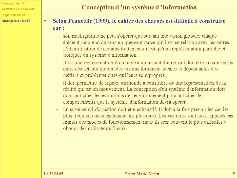 Concepts des SI Typologie des SI Management des SI Systèmes Com&Savoir Le 27/09/05Pierre-Marie Guern5 Conception d un système d information Selon Peau