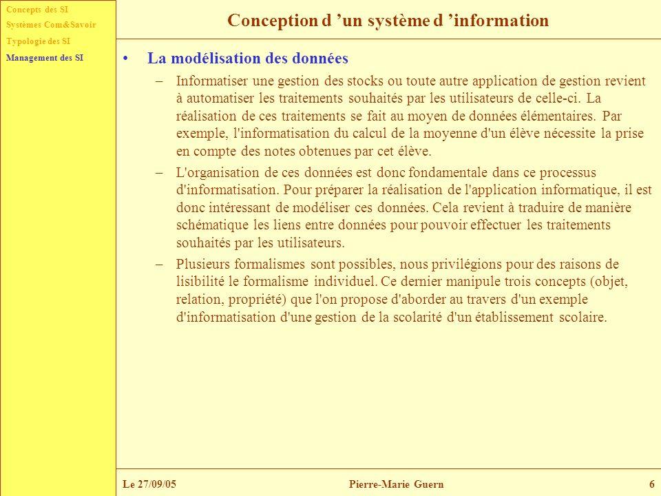 Concepts des SI Typologie des SI Management des SI Systèmes Com&Savoir Le 27/09/05Pierre-Marie Guern6 Conception d un système d information La modélis