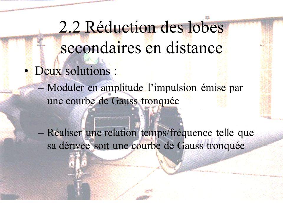 2.2 Réduction des lobes secondaires en distance Deux solutions : –Moduler en amplitude limpulsion émise par une courbe de Gauss tronquée –Réaliser une