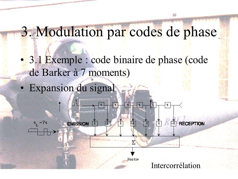 3. Modulation par codes de phase 3.1 Exemple : code binaire de phase (code de Barker à 7 moments) Expansion du signal Intercorrélation