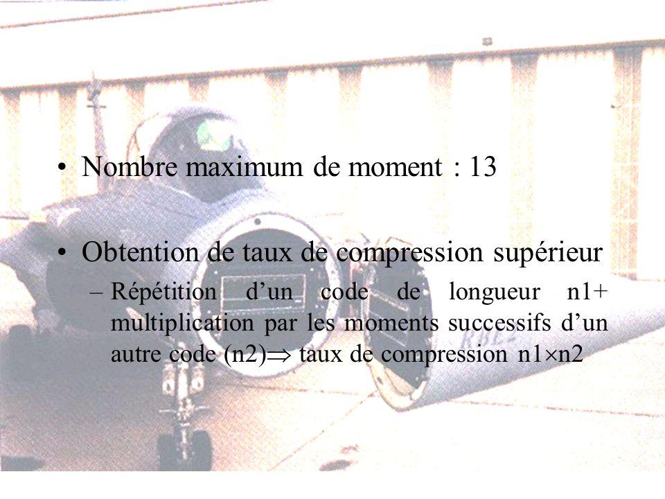 Nombre maximum de moment : 13 Obtention de taux de compression supérieur –Répétition dun code de longueur n1+ multiplication par les moments successif