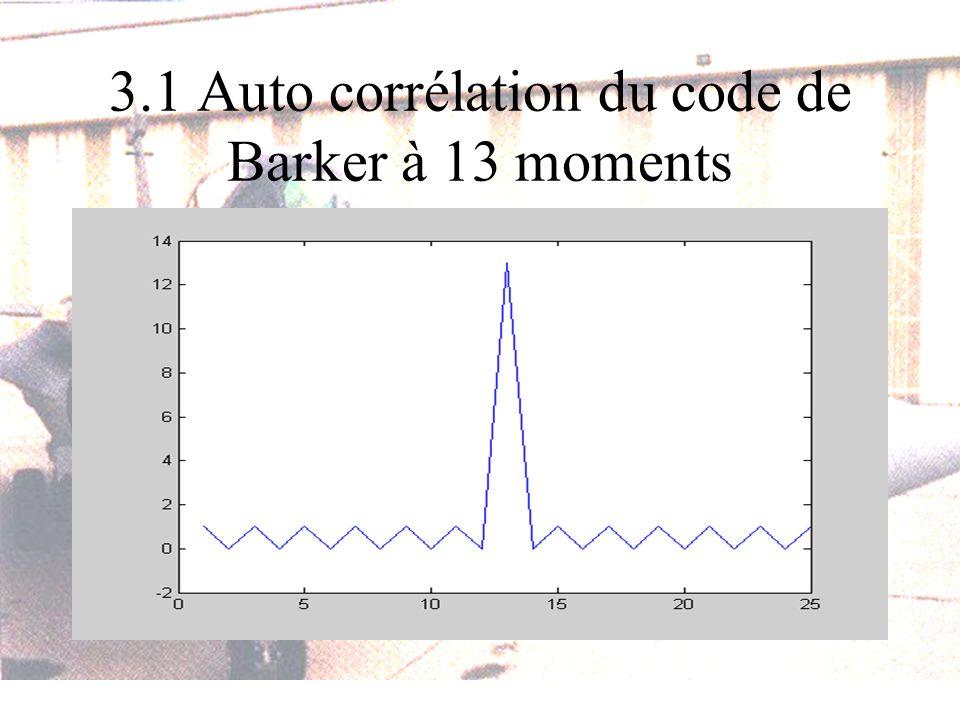 3.1 Auto corrélation du code de Barker à 13 moments