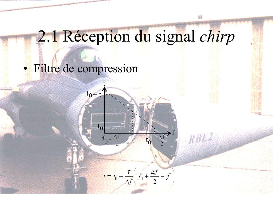 2.1 Réception du signal chirp Filtre de compression