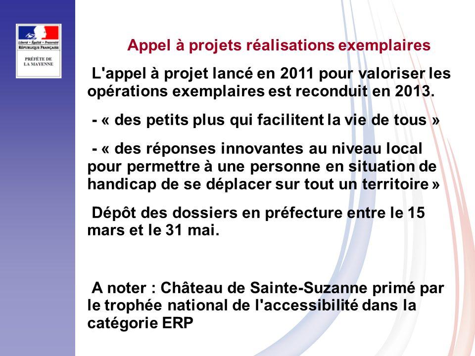 Appel à projets réalisations exemplaires L appel à projet lancé en 2011 pour valoriser les opérations exemplaires est reconduit en 2013.