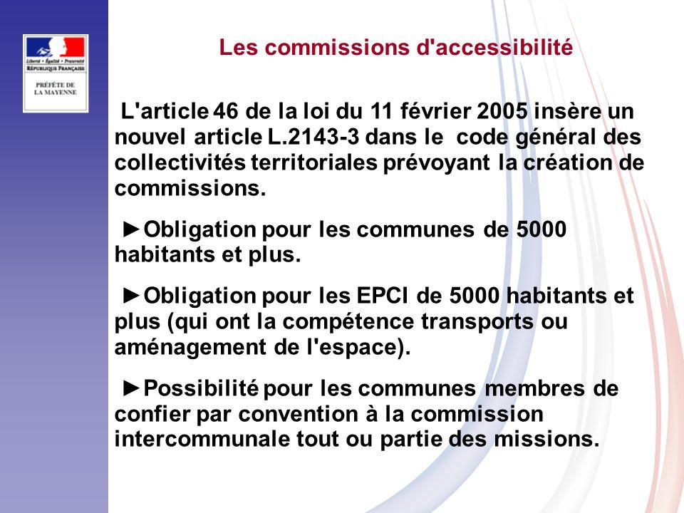 Les commissions d accessibilité L article 46 de la loi du 11 février 2005 insère un nouvel article L.2143-3 dans le code général des collectivités territoriales prévoyant la création de commissions.