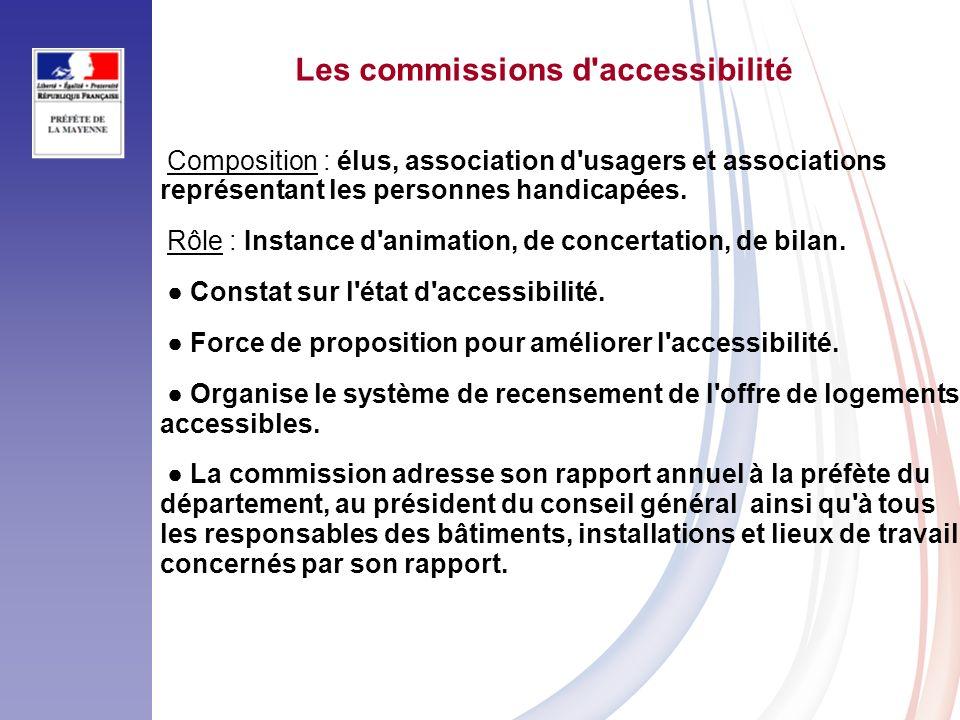 Les commissions d accessibilité Composition : élus, association d usagers et associations représentant les personnes handicapées.