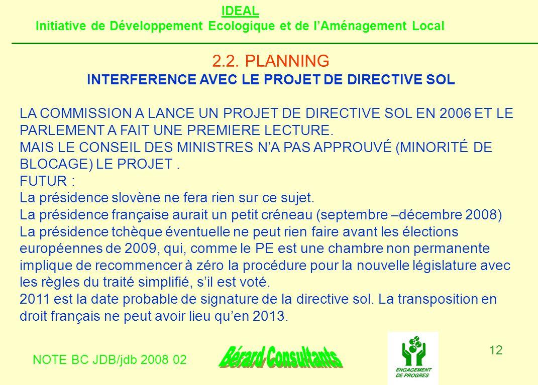 IDEAL Initiative de Développement Ecologique et de lAménagement Local NOTE BC JDB/jdb 2008 02 12 2.2. PLANNING INTERFERENCE AVEC LE PROJET DE DIRECTIV