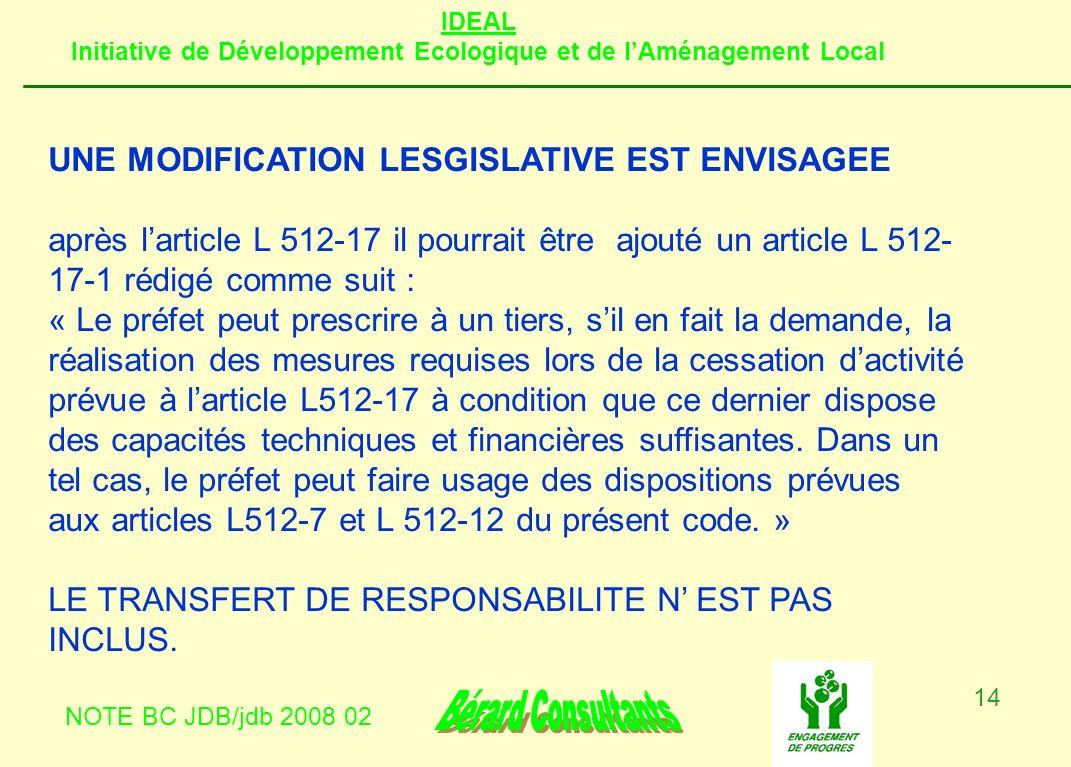 IDEAL Initiative de Développement Ecologique et de lAménagement Local NOTE BC JDB/jdb 2008 02 14 UNE MODIFICATION LESGISLATIVE EST ENVISAGEE après lar