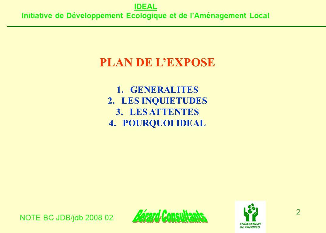 IDEAL Initiative de Développement Ecologique et de lAménagement Local NOTE BC JDB/jdb 2008 02 2 PLAN DE LEXPOSE 1.GENERALITES 2.LES INQUIETUDES 3.LES