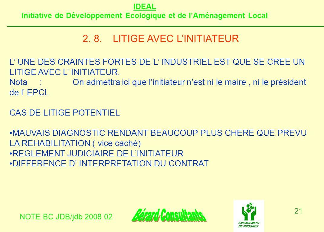 IDEAL Initiative de Développement Ecologique et de lAménagement Local NOTE BC JDB/jdb 2008 02 21 2. 8.LITIGE AVEC LINITIATEUR L UNE DES CRAINTES FORTE