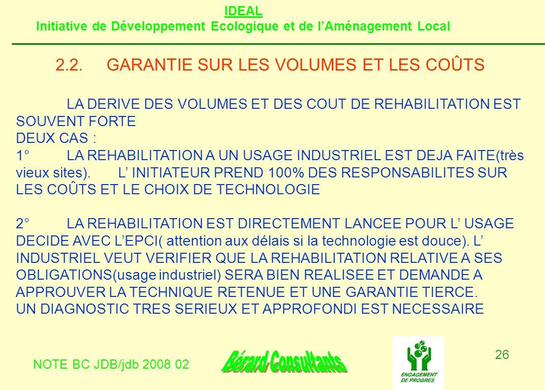 IDEAL Initiative de Développement Ecologique et de lAménagement Local NOTE BC JDB/jdb 2008 02 26 2.2.GARANTIE SUR LES VOLUMES ET LES COÛTS LA DERIVE D