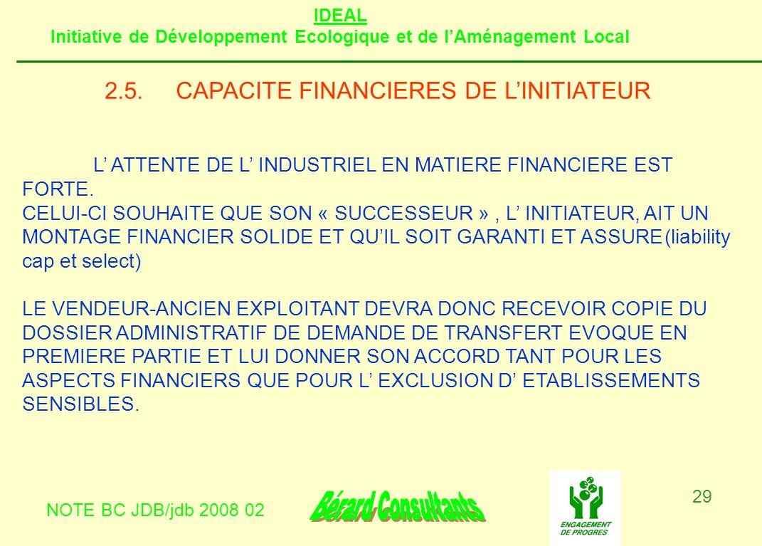 IDEAL Initiative de Développement Ecologique et de lAménagement Local NOTE BC JDB/jdb 2008 02 29 2.5.CAPACITE FINANCIERES DE LINITIATEUR L ATTENTE DE